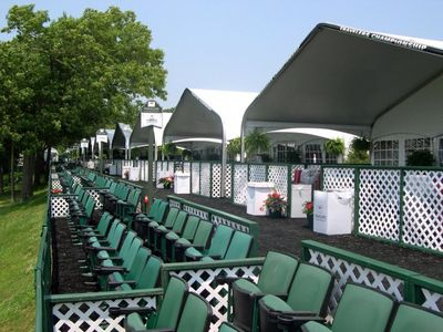 Side view of seating at a golf course