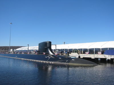 Side view of submarine